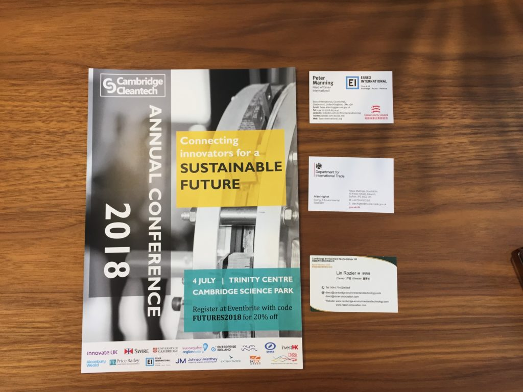 Cambridge cleantech 2018 event collateral